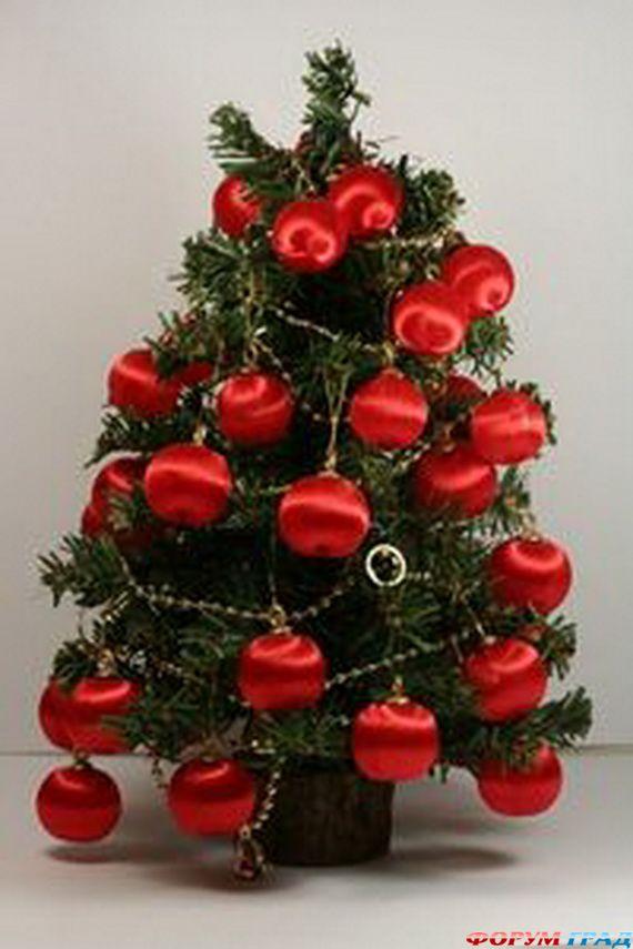 это делать елка с красными и желтыми шарами фото возможно