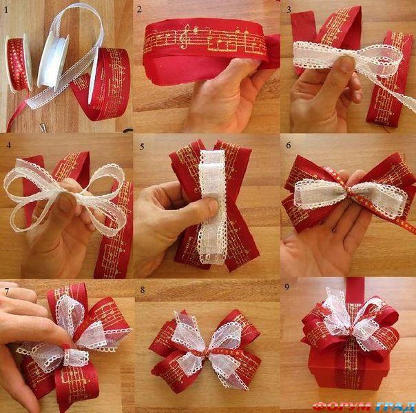 Как сделать красивый бантик из ленточки для подарка - Stp-lab.ru