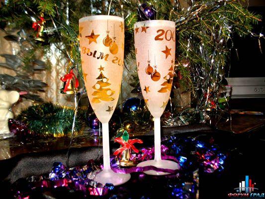 Бокалы новогодние своими руками фото