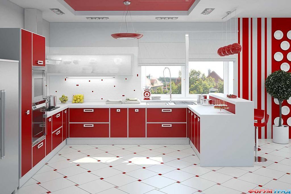 Бело красные кухни дизайн