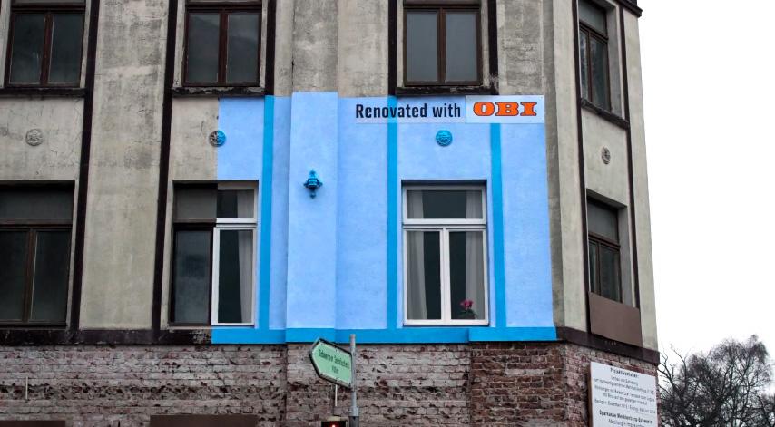 Яркий рекламный стрит арт от OBI