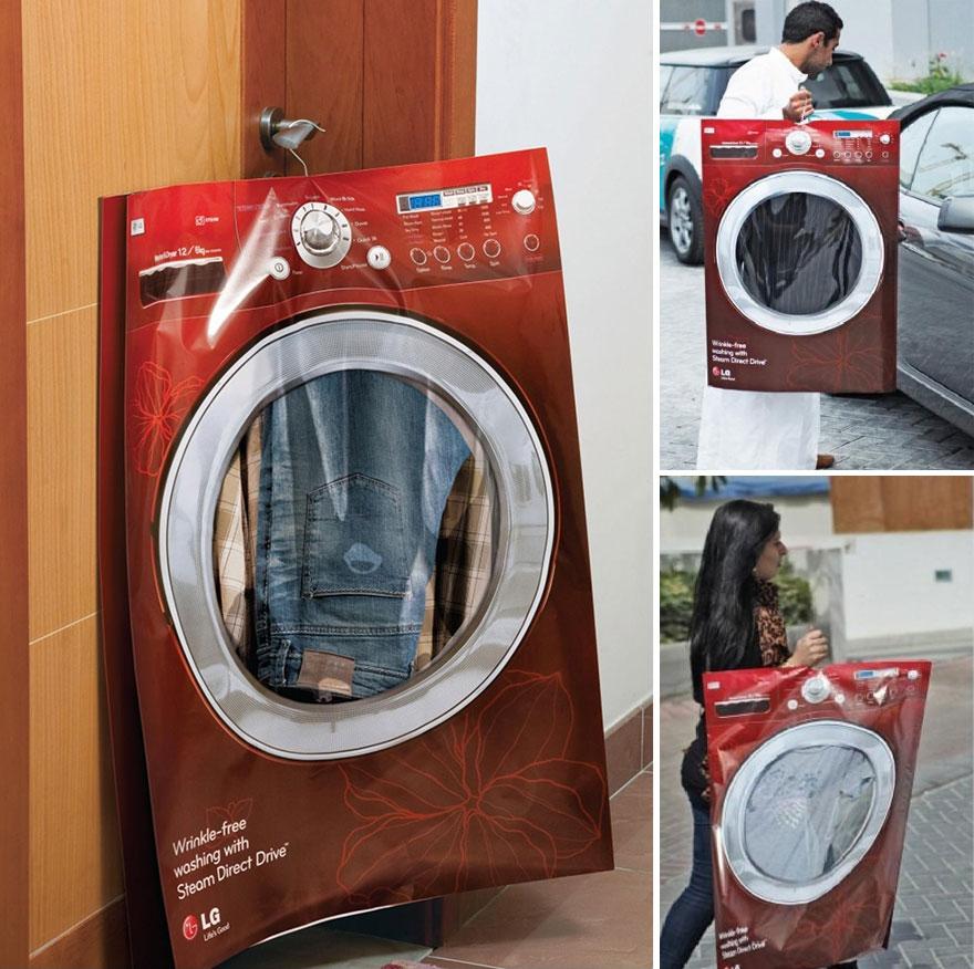 Большой пакет от LG с изображением стиральной машины