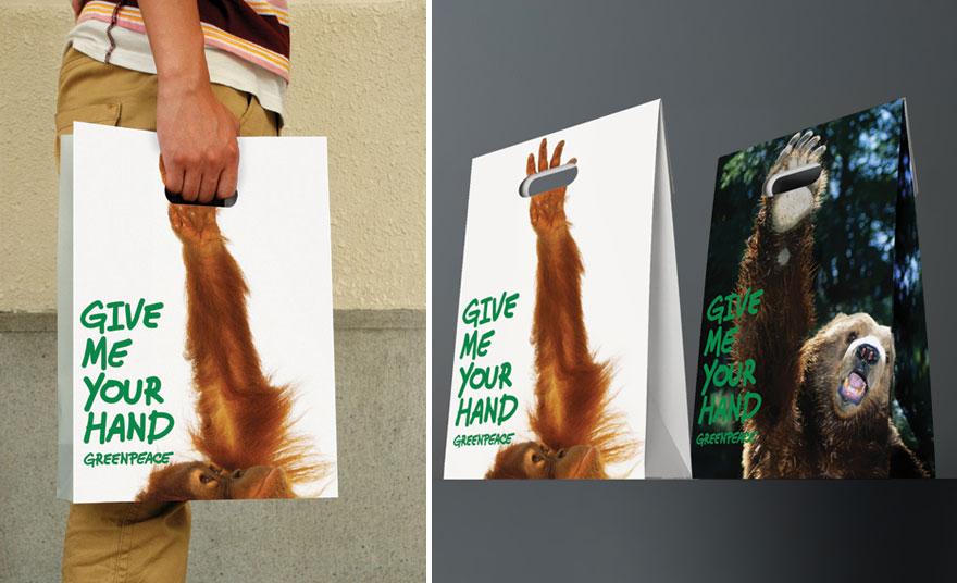 Пакет с изображением обезьяней руки