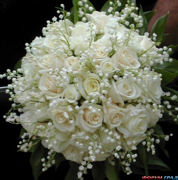 Комментарий: Уже писала, что мне очень нравится сочетание роз и ландышей. Это, конечно, скорее свадебный букет, но очень красивый