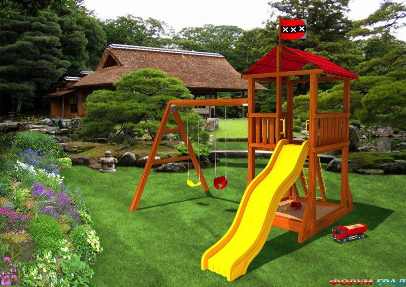 Дешевая детская площадка на даче