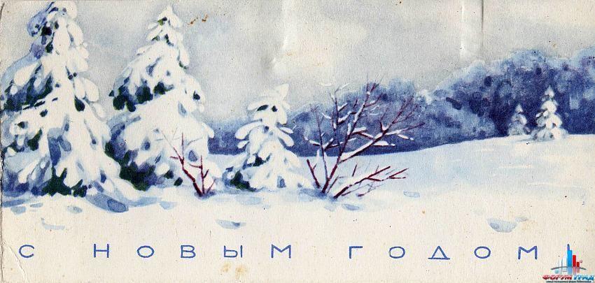 Зима открытка карандашом