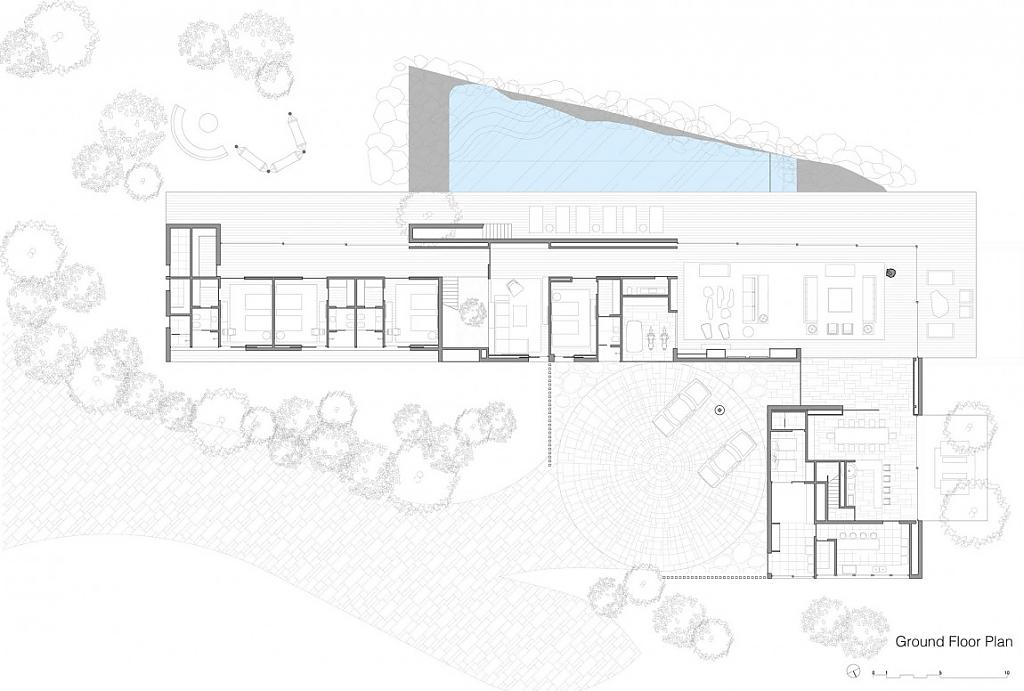 Г-образный проект дома с бассейном и садом в Бразилии