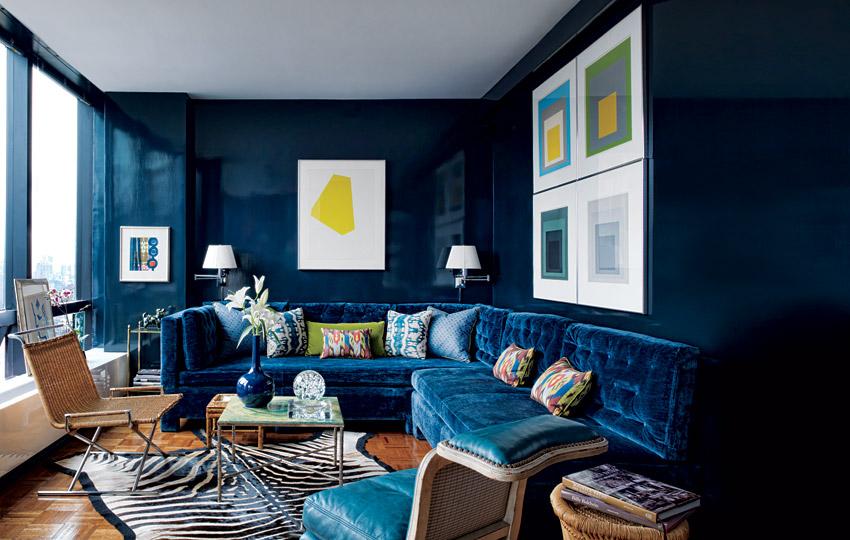 Синий дизайн комнаты