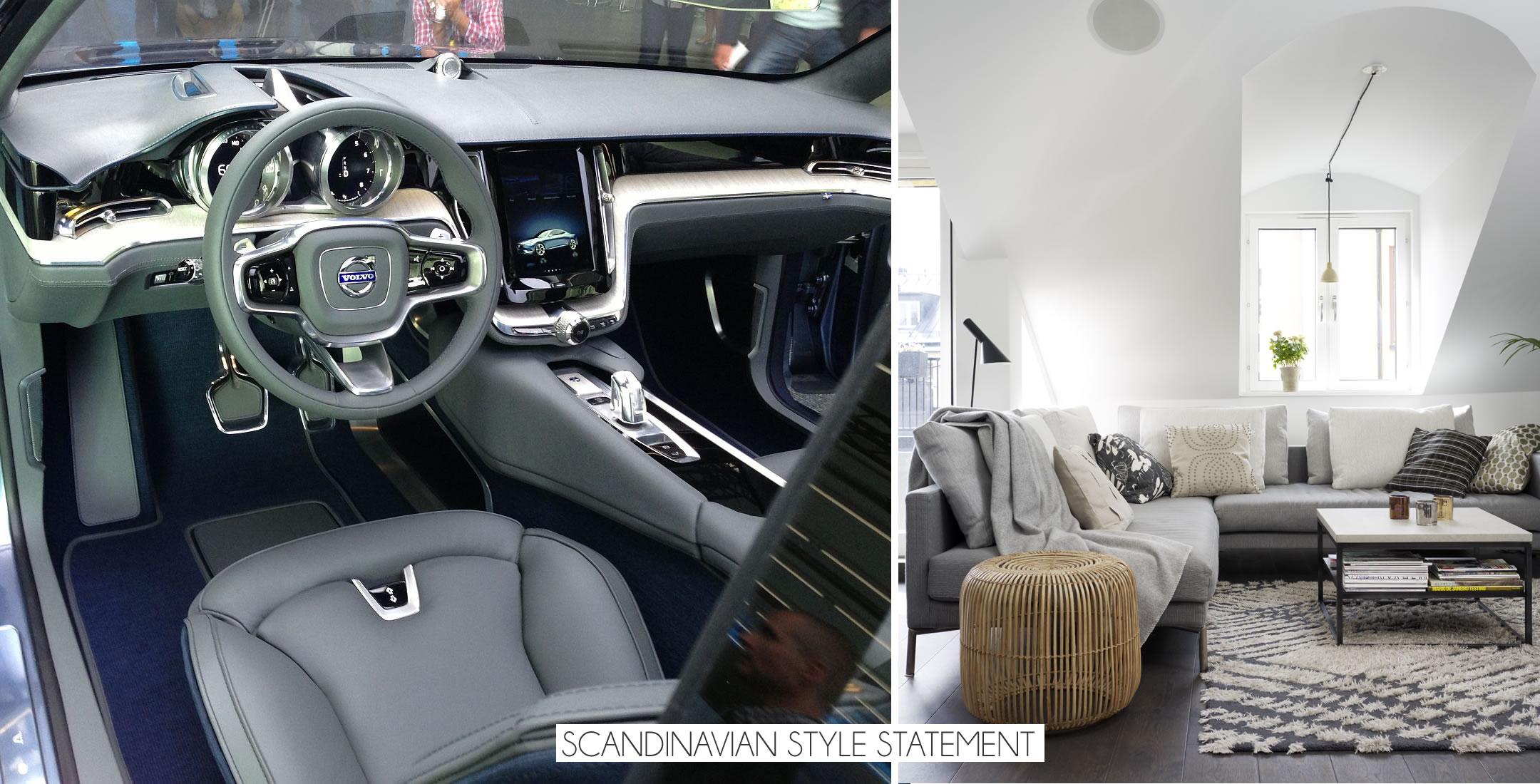 Коллаж фотографий: дизайн интерьера гостиной и приборная панель авто Coupe Concep