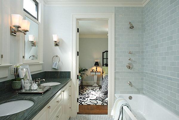 Modern subway tile bathroom designs