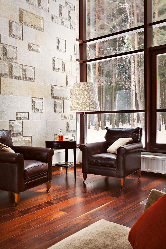 Камин в гостинной дома Ruben-Dishdishyan