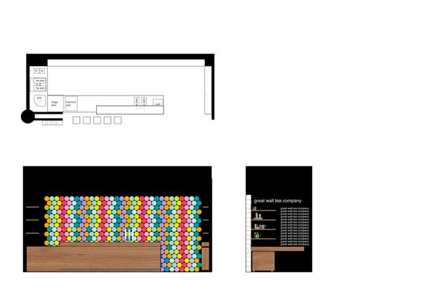 Проект-схема дизайна кафе-магазина The Great Wall Tea Co.
