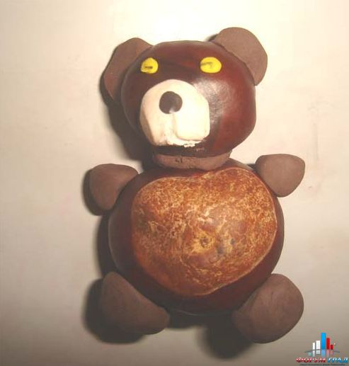 Поделка медведь из каштанов и пластилина.  - Делаем красоту вместе .  Размер: 517=493.