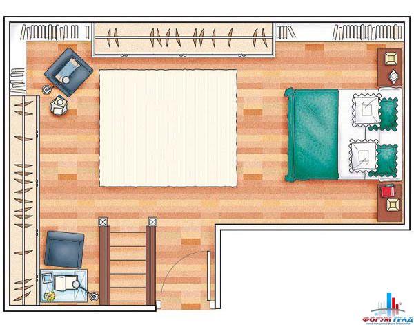 Эта спальня очень маленькая, по сравнению с предыдущей, что объясняется...