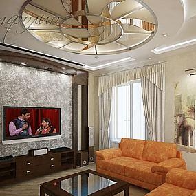 Интерьер гостиной с венецианской декоративной штукатуркой.