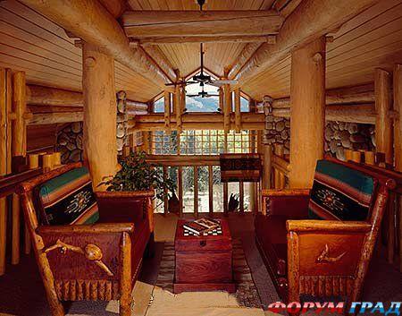 Интерьеры в деревянном доме фото