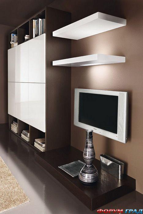 белые глянцевые стенки для гостиной фото