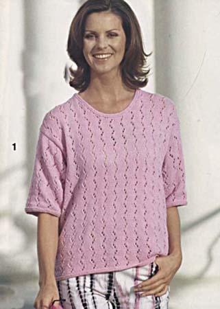 ажурное вязание спицами женских свитеров и полуверов.