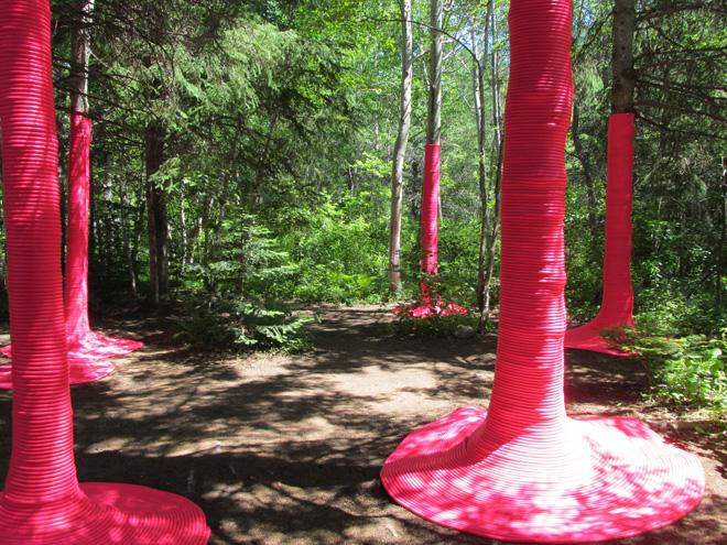 Инсталяция в лесу Розовый пунш