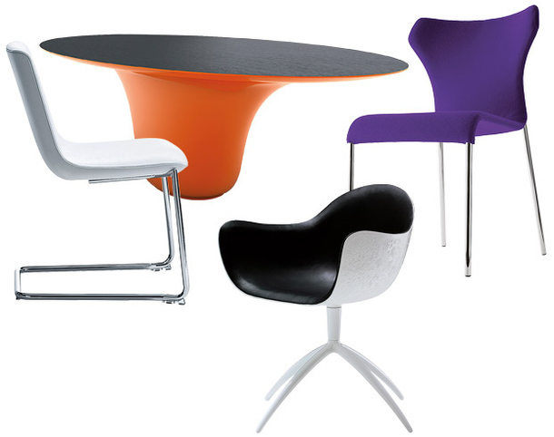 Стул DS-718, стол Drop, пластиковое кресло Venus и табурет Papilio