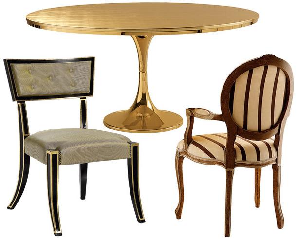Деревянный позолоченный стол и стул Extra  Chandelier с табуретом