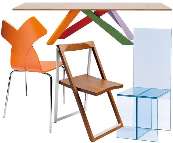 Металлический табурет, стол Big Table, стулья Scip и Merci
