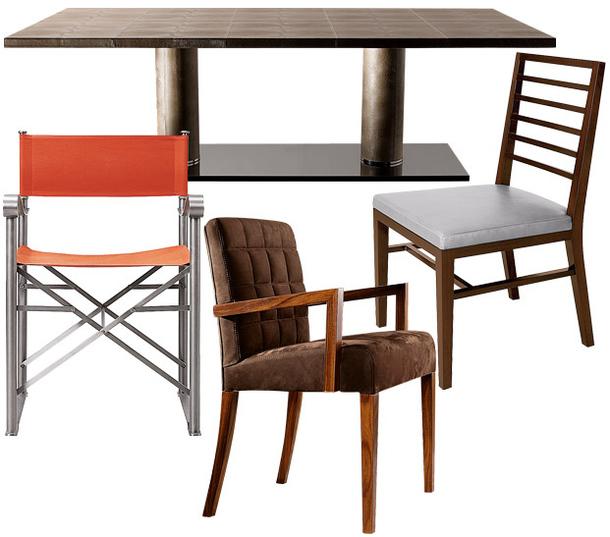Стол Bernini, стулья Quentin, Spiga и табурет из ореховой древесины