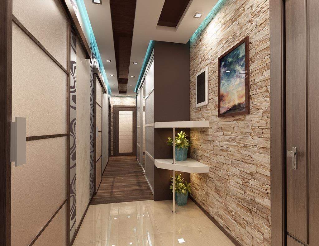 Интерьер длинного коридора фото