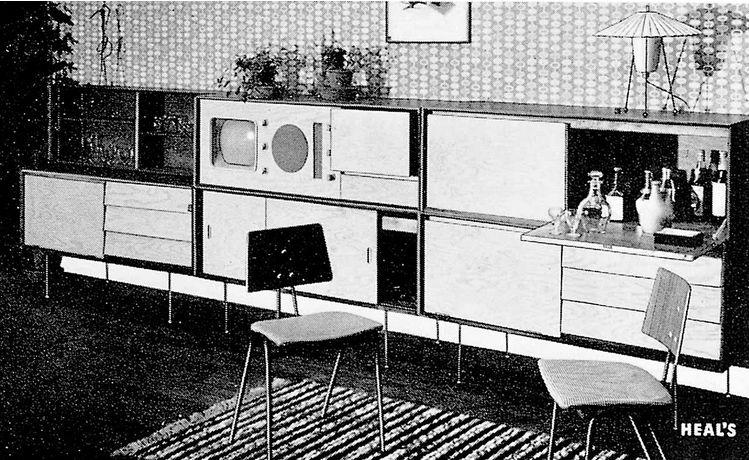 Робин Дей и Люсьен Дей. Модульная мебель, обои и текстиль в столовой Садового павильона на Британском фестивале, 1951