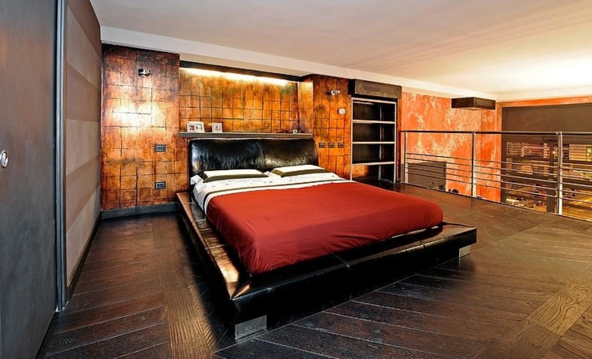 Необычная спальня в промышленном стиле