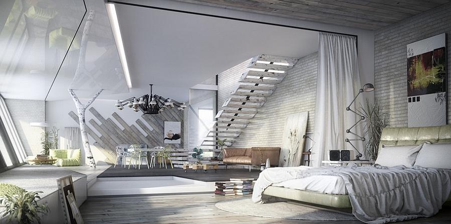 Белая спальня с драпировкой и лестницей