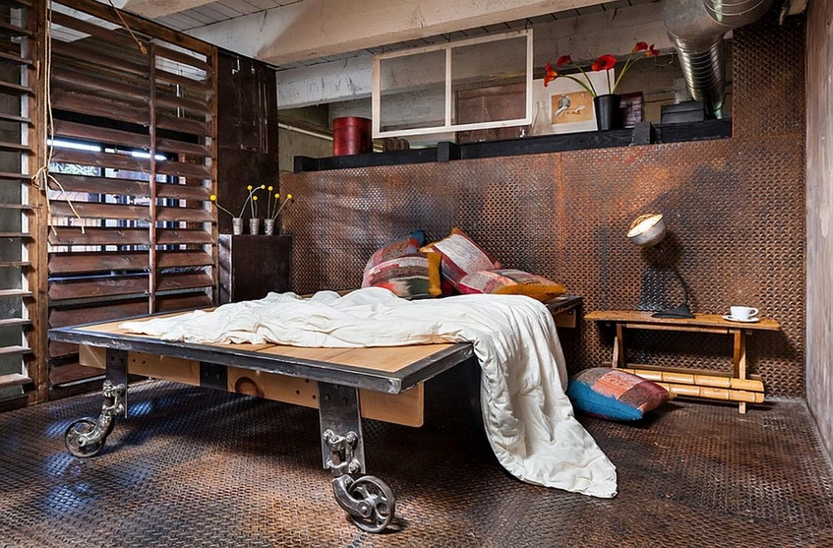 Пример индустриальной спальни с использованием железного настила