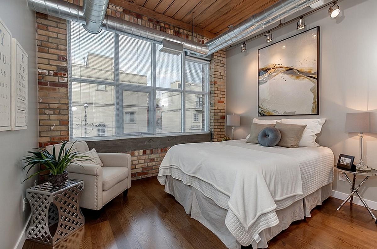 Спальня-лофт в промышленном стиле