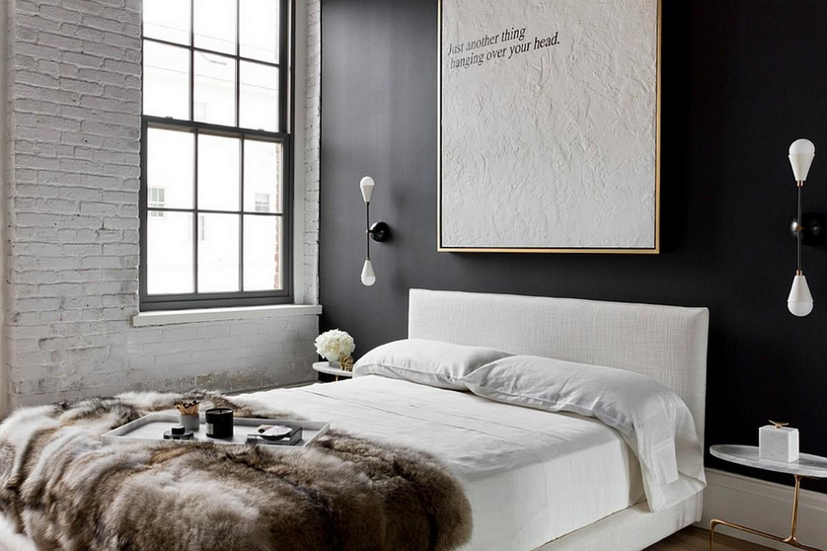 Каменная стена в интерьере спальни