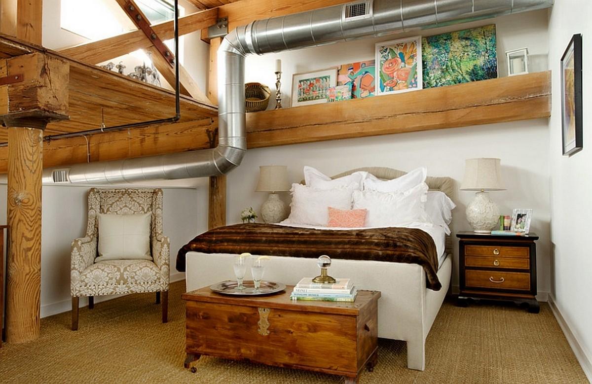 Трубы и проводка украшают промышленную спальню