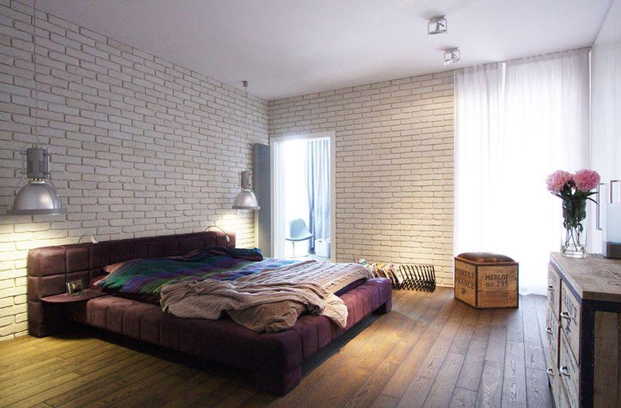 Стальные светильники в интерьере спальни