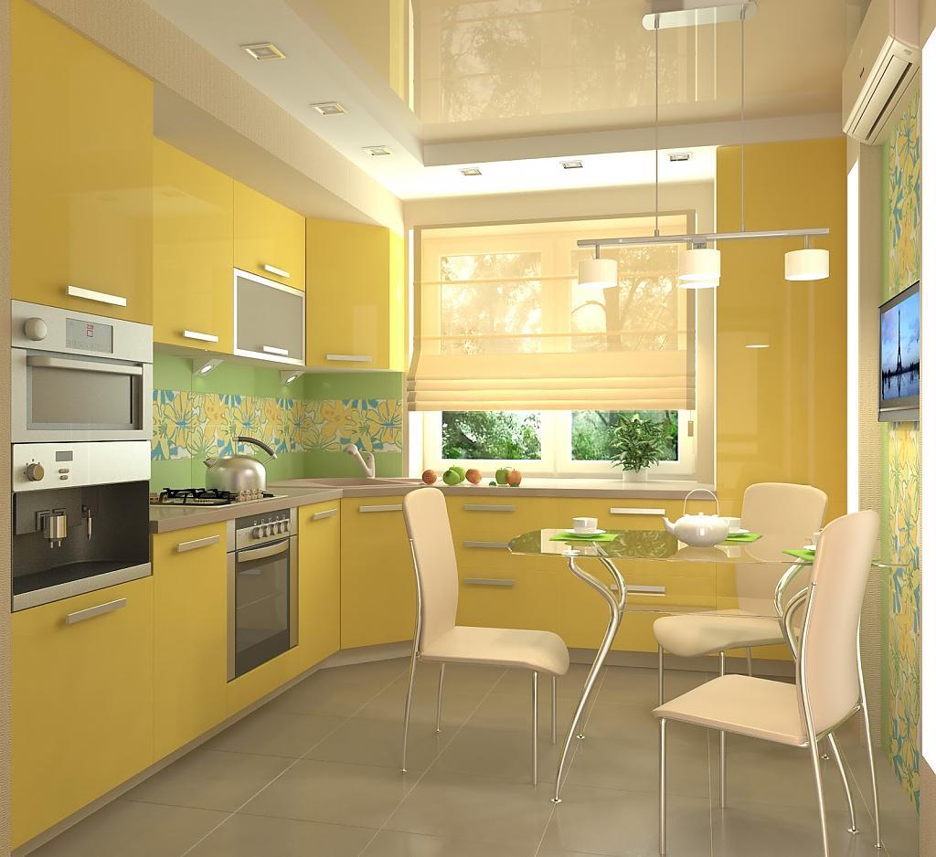 Желтые стены на кухне дизайн
