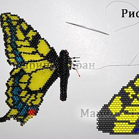 Схема плетения бабочки Махаон из бисера.