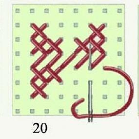 Закончите верхним стежком крестик четвертого ряда: игла расположена для выполнения следующего крестика.