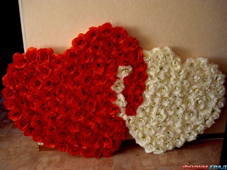 Сердце из цветов на свадьбу