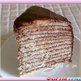 Торт с тонкими коржами и заварным кремом рецепт