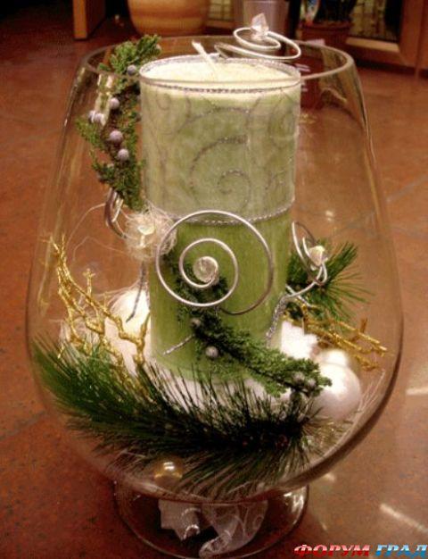 Новогодние композиции со свечой своими руками мастер