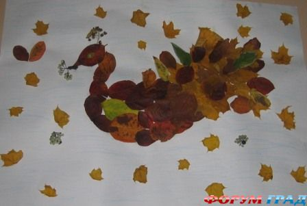 фото аппликации из сухих листьев