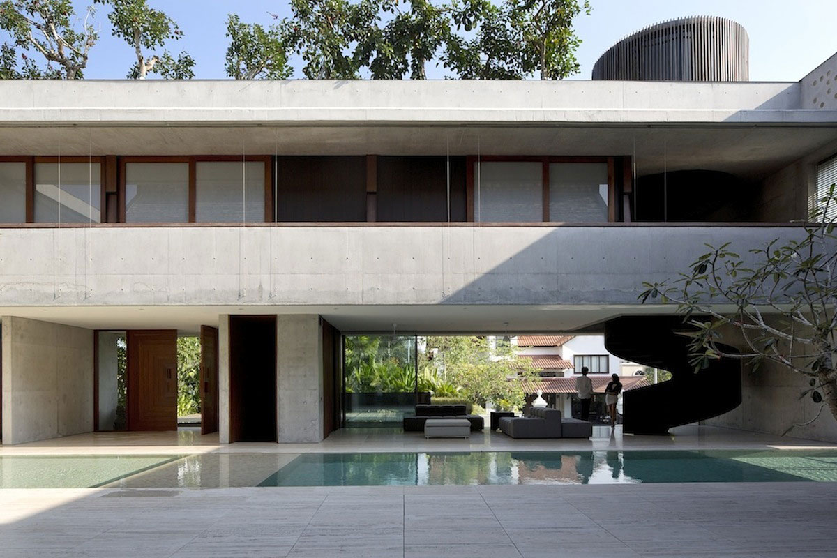 Проект многоквартирного дома с бассейном и садом