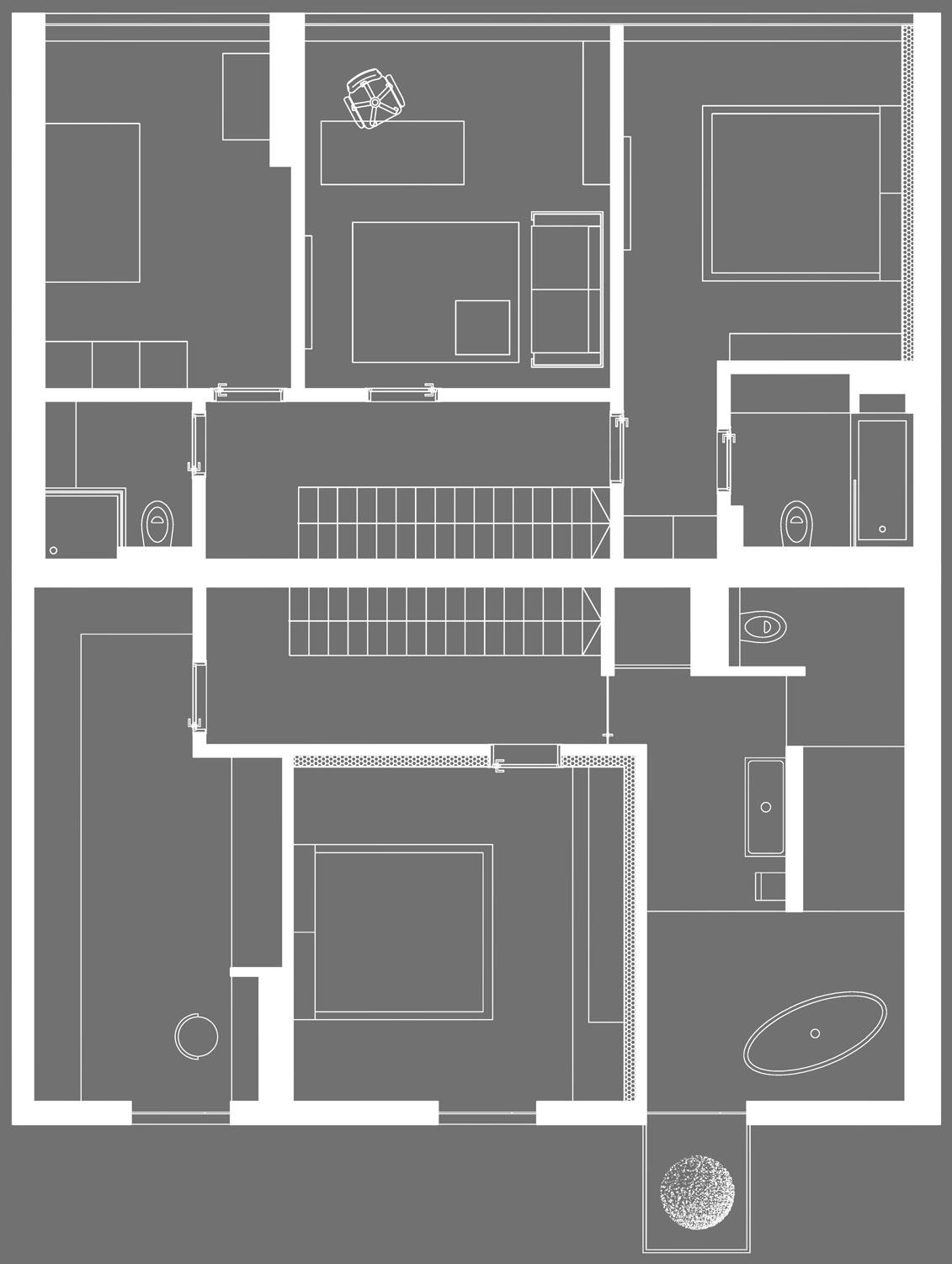Авторские проекты домов: стильная двухуровневая квартира в Румынии