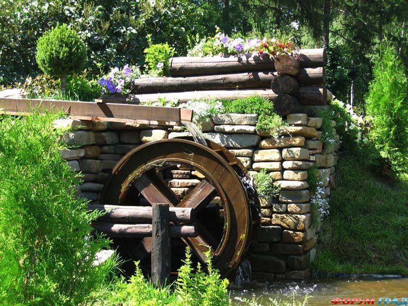 Декоративные водяные мельницы для сада своими руками фото