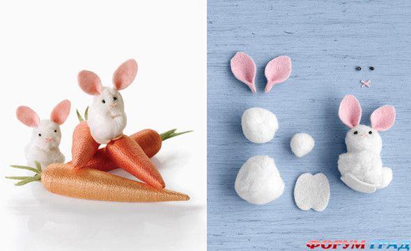 Поделка зайца из помпонов