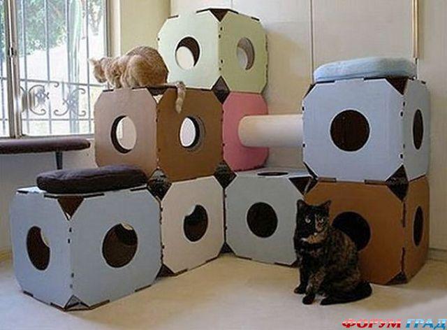 Домик для кошки из картонной коробки своими