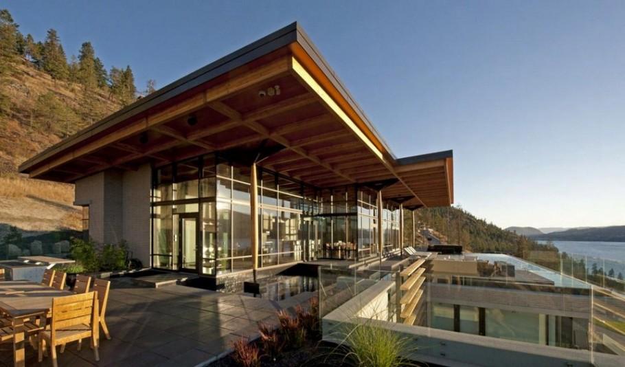 Дом на утёсе с видом на озеро от канадского архитектора