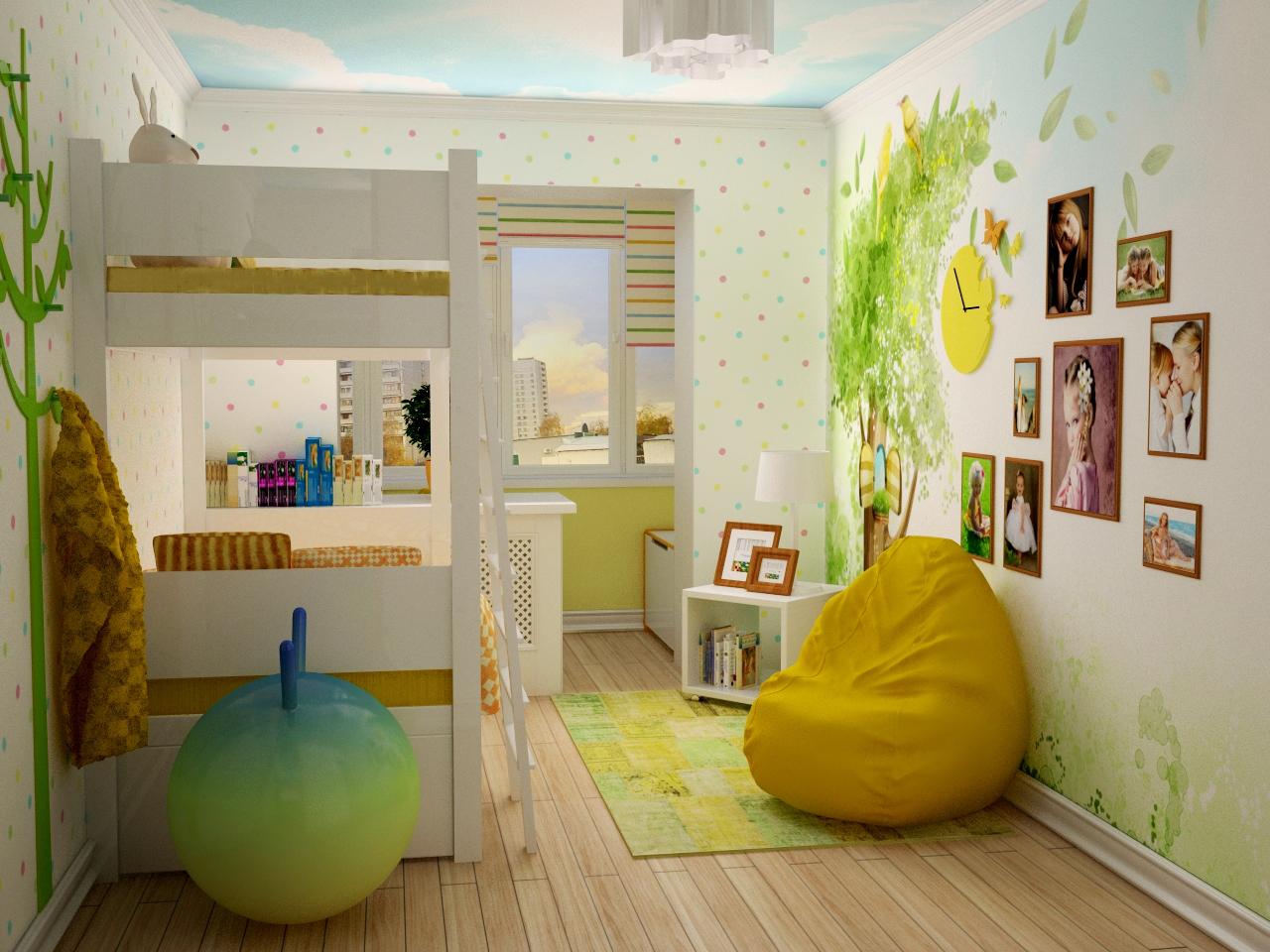 Дизайн детской комнаты - фото интерьера детской..